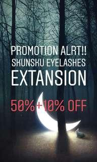 EYELASHES EXTANSION 50%+10% OFF