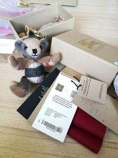 ❤BURBERRY BRAND NEW Thomas Bear Charm in Check Cashmere KEY CHAIN RING BAG CHARM HOLDER AUTHENTIC CLASSIC
