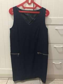 Navy Blue Zip Dress