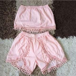 Pompom top and shorts