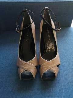 Nude color Charles & Keith Heels (peel toe)