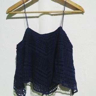 blue string top