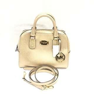 Michael Kors Pale Gold Saffiano Leather Small Satchel Two-way Bag