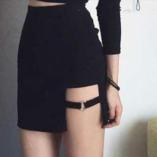 超性感側開扣環百搭短裙 包裙  包臀裙 性感短裙