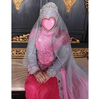 Sepasang busana pengantin baju kebaya modern wanita & beskap basofi pria
