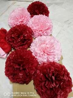 Pom Pom  Flowers with  2 decoration lace (9meter each)