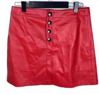 Mango Casual sz S red women skirt vegan leather club party casual fashion snap