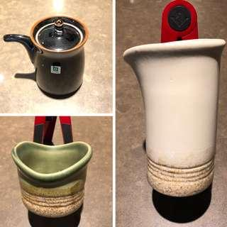 Crafted Japanese Tea Cups & Pot