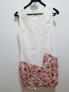 White with pink flower Formal dress