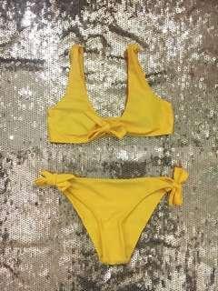 Yellow Tie Knot Bikini Set
