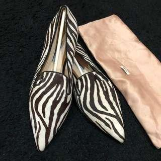 Excellent ❤️ Used 2x Prada zebra print-calf hair pointed toe loafers shoes  Size 37 With dustbag
