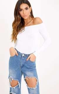 White Off The Shoulder Long Sleeve Bodysuit