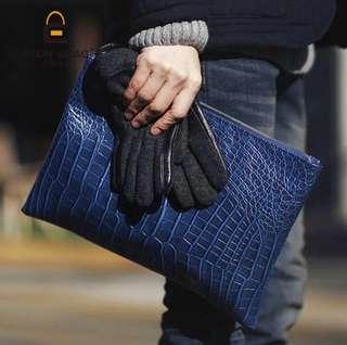 超奢華款 時尚潮人必帶款 鱷魚壓紋手拿包