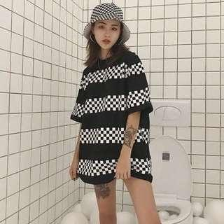 oversized checkerboard shirt