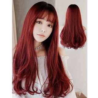 Crimson red cinnamon curl full wig full wig