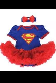 IN STOCK Baby toddler Supergirl costume superhero costume girl superhero costume dress Halloween children's day costume