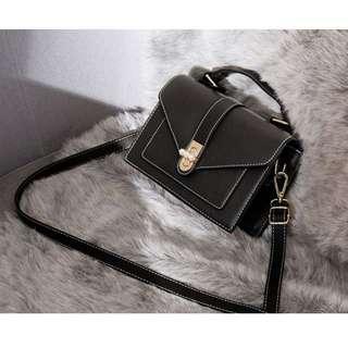 (Pre-order) Women Fashion Slingbag (Black and Coffee) #601