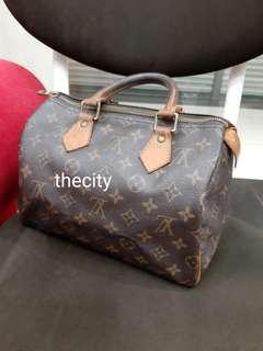 AUTHENTIC LOUIS VUITTON SPEEDY 25 - MONOGRAM CANVAS - ZIPPER LEATHER TAB  CAN BE REPLACED AT 1457f0f40d75e