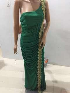 Green Body Fit Evening Gown