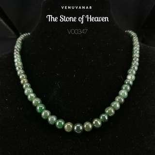 🚚 The Stone of Heaven Burmese Dark Green Jadiete Necklace (6mm Bead Length 42cm) -Jadiete is priceless, it is an invaluable stone that is being highly respected and admired since ancient time until today.