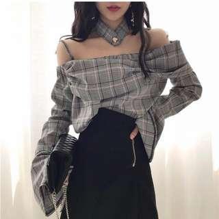 ulzzang grey checkered bell sleeves top