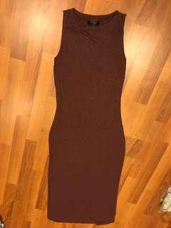 Maroon/ plum Topshop midi dress