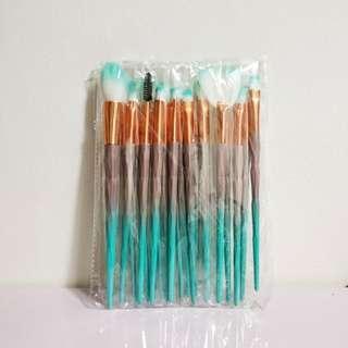 Free Mailing! 20 pcs Makeup Brush Set - Brown & Green
