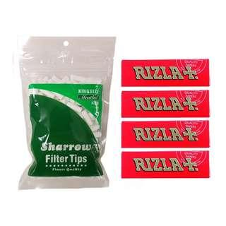 (D3)手捲煙濾咀+煙紙組合 / 1x Sharrow King Size Menthol Filter Tips + 4x Rizla RED Regular Rolling Papers
