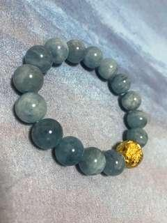 24k Pure  Gold Two Auspicious Fish Lucky Ball Aquamarine Lucky Charm Bracelet