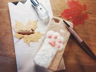 羊毛氈馬卡龍色系🐈貓咪手掌手機殼