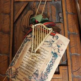 antique harp decoration for x'mas tree
