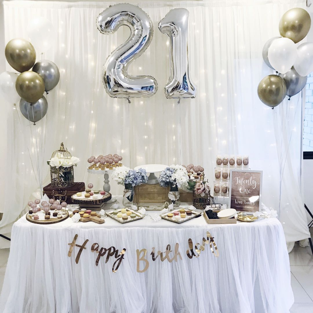 21ST BIRTHDAY TABLE DECOR AND BACKDROP Everything Else On Carousell
