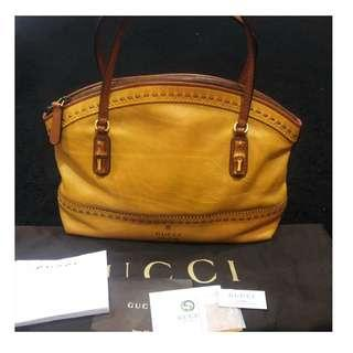 Gucci crafty leather laidback bamboo top handle medium tote bag  Complete set with receipt