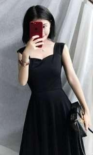 (Xmas discount!) Female Summer new Korean style high waist, elegant large sling sleeveless black medium long dress