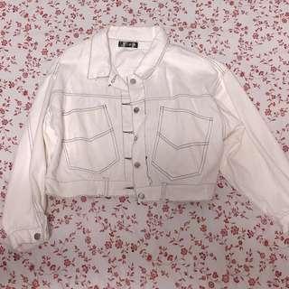 Vintage White Outline Cropped Denim Jacket