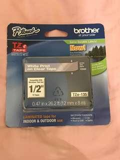 🚚 Brother P- touch TZe-135 white on clear tape