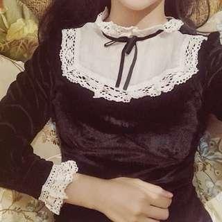 Cute elegant Lolita black dress