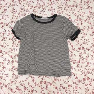 Pull&Bear Grey Striped Top