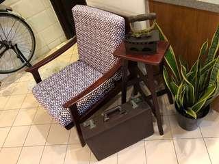 Bundle Sale- 1970s Teak sofa, Iron, stool & briefcase