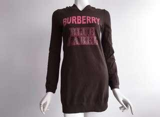 BURBERRY LONDON x BLUE LABEL BROWN PRINTED HOODED L/S DRESS