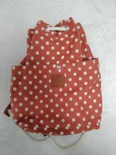 🚚 Red Polka Dot Drawstring Bag