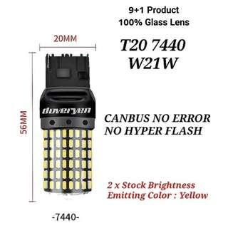 2 X T20 7440 W21W WY21W YELLOW CANBUS LED NO HYPER FLASH ISSUES BUILT-IN CANBUS / LOAD RESISTORS / CONSTANT CURRENT DRIVER FOR SIGNAL / BRAKE USAGE SUITABLE FOR ALL CAR & MOTORCYCLE MODELS                            CLICK READ MORE FOR MORE DETAILS