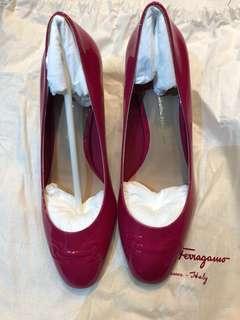 Ferragamo 桃紅色 漆皮 高跟鞋