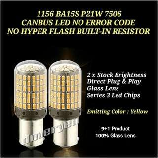 1156 BA15S S25 7506 YELLOW CANBUS LED NO HYPER FLASH ISSUES BUILT-IN CANBUS / LOAD RESISTORS / CONSTANT CURRENT DRIVER FOR SIGNAL / BRAKE USAGE SUITABLE FOR ALL CAR & MOTORCYCLE MODEL                            CLICK READ MORE FOR MORE DETAILS