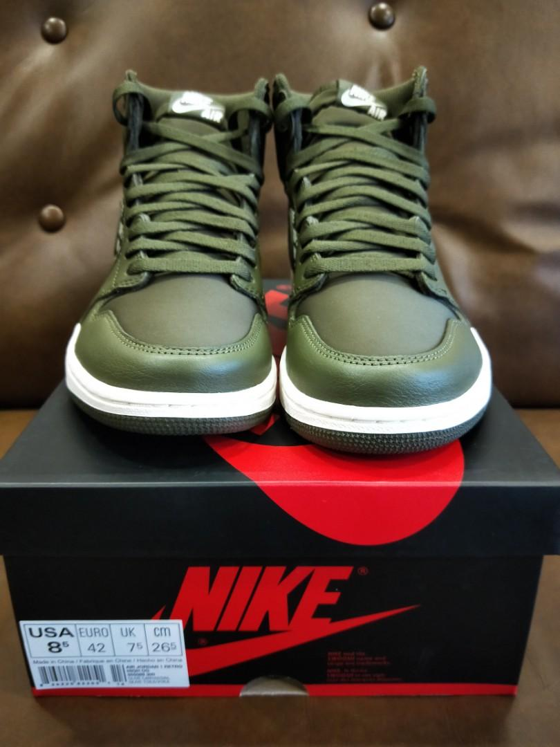 NIKE AIR JORDAN 1 Mid Olive Canvas Gr. 40,5 NEU!!