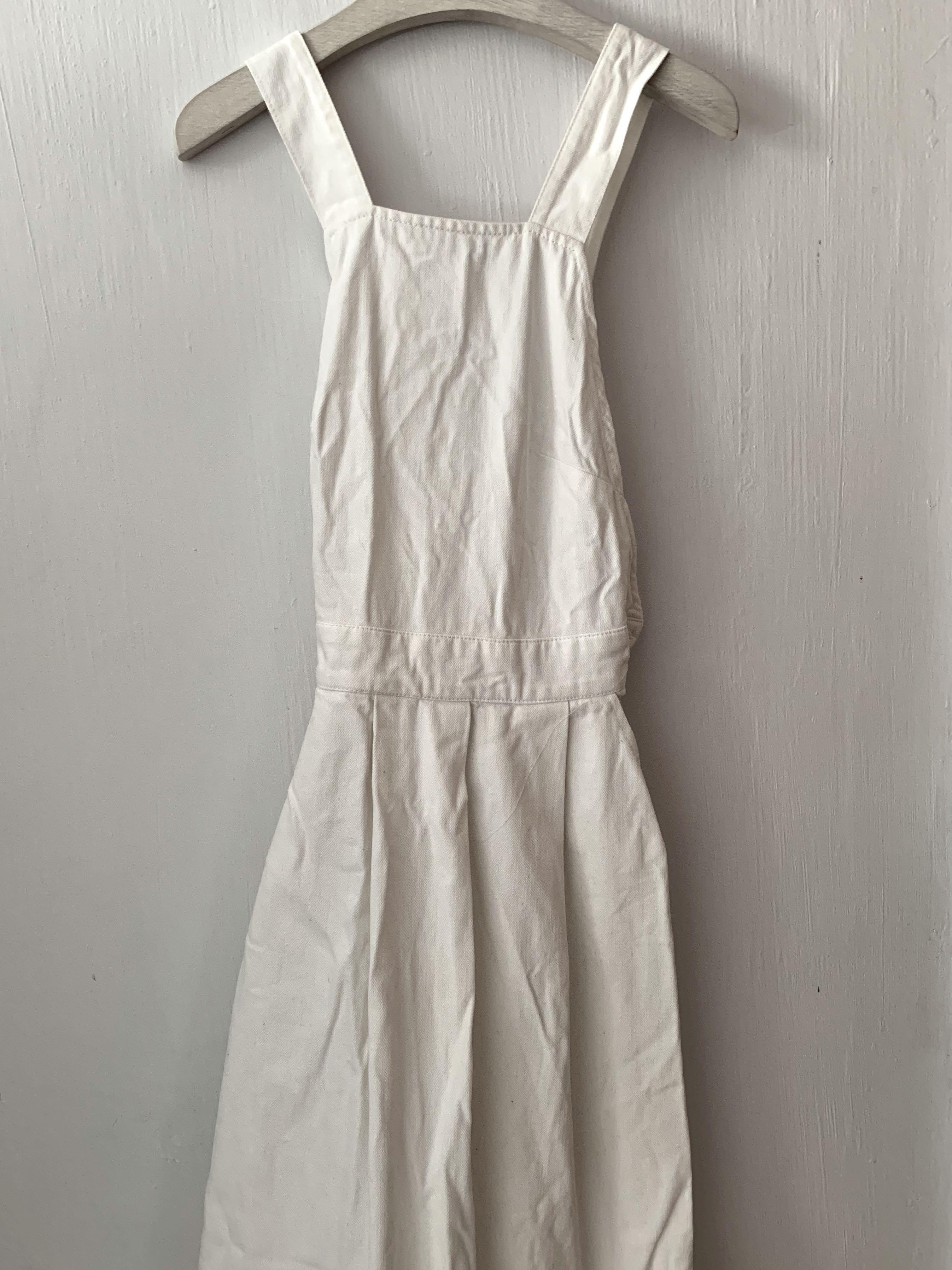 cf2465f0bb ASOS Denim Cross Back Midi Dress In Off White With Raw Hem