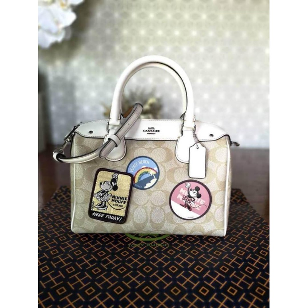 fc3f092db23 Authentic Coach Mini Bennett Satchel In Signature Canvas with Minnie ...