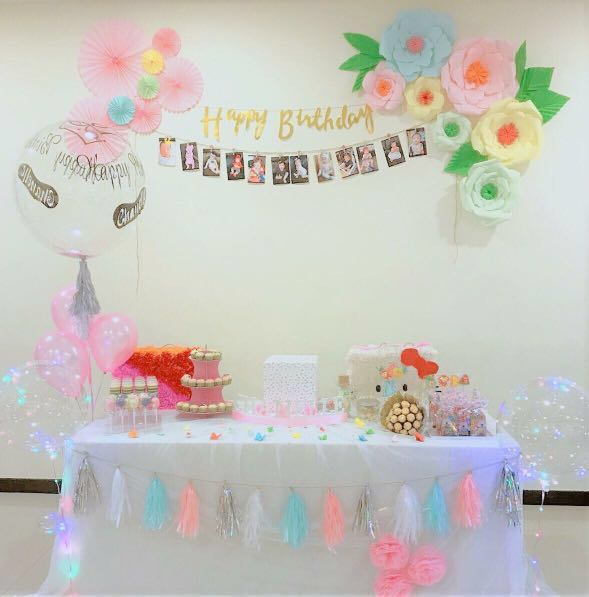 Baby Shower Happy Fullmonth Birthday Setup Party Tulle