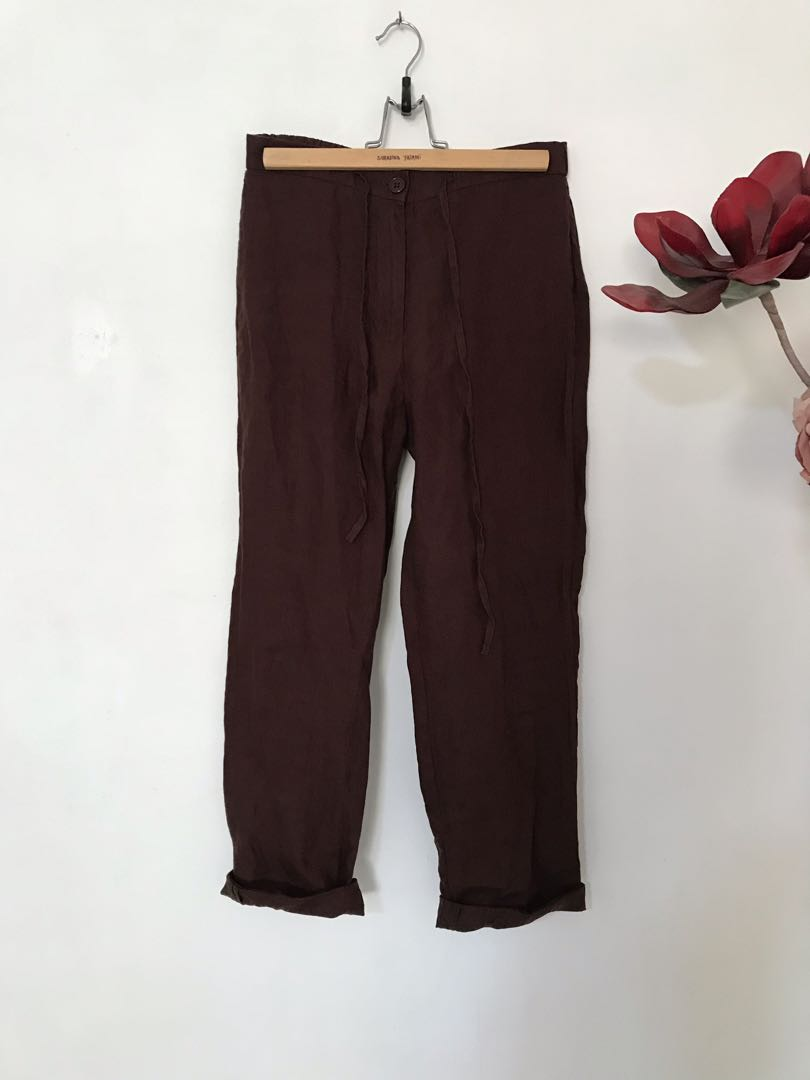 98e188d5dd1 BN Anne Kelly Linen Pants in dark brown