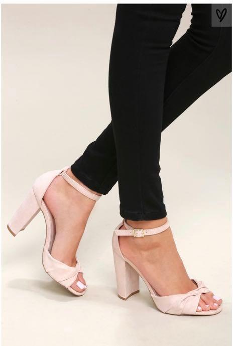 b12d2ffb9a BN Lulu s Nude Suede Ankle Strap Heels (US9)